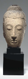 A Large Sandstone Head of Budd