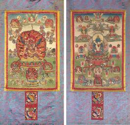 A Pair of Thangkas: The Deitie