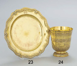 A FRENCH SILVER GILT DINNER PL