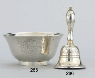 A GEORGE III SILVER TABLE BELL