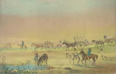 A wagon train crossing the pla