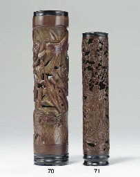 A SMALL FINELY CARVED BAMBOO C