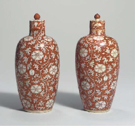 A PAIR OF IRON-RED-DECORATED O