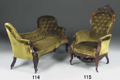 A VICTORIAN ROSEWOOD AND UPHOL