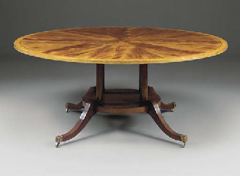 A LARGE CIRCULAR DINING TABLE