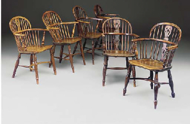 A MATCHED SET OF SIX YEWWOOD A