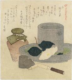 Tea grinder, caddy, tea leaf j