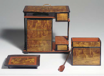A Lacquer and Wood Picnic Set