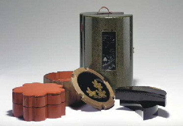 A Lacquer and Wood Cylindrical