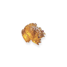 A CITRINE AND RUBY BROOCH, BY