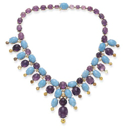 A TURQUOISE, AMETHYST AND CHRY
