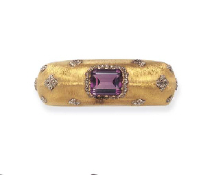 AN AMETHYST AND BICOLORED GOLD