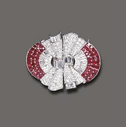 AN ART DECO RUBY AND DIAMOND D