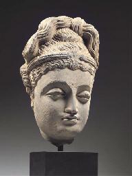 a gandhara grey schist head of