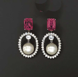 A PAIR OF SYNTHETIC RUBY, CULT