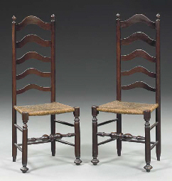 A PAIR OF BROWN-PAINTED LADDER