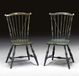 A PAIR OF GREEN PAINTED WINDSO