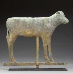 A MOLDED COPPER CALF WEATHERVA