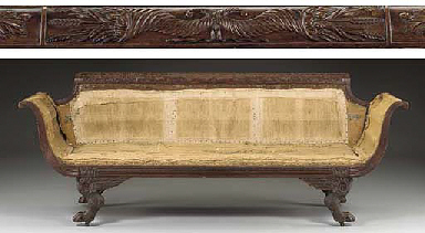 A CLASSICAL CARVED MAHOGANY GR