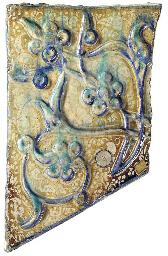 A KASHAN MOULDED COBALT-BLUE,
