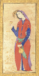 A LADY HOLDING A CUP
