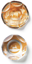 TWO CONTINENTAL FACETED AMBER-