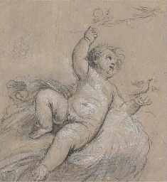 Study of Cupid releasing doves