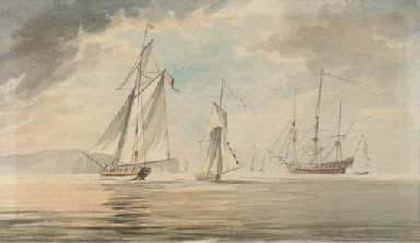A man-o'war and two cutters of