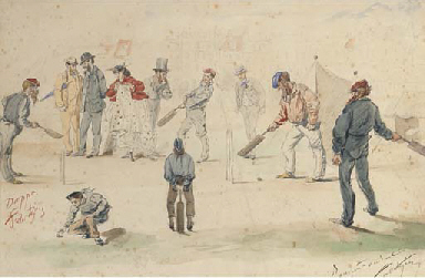 A cricket match in the town sq