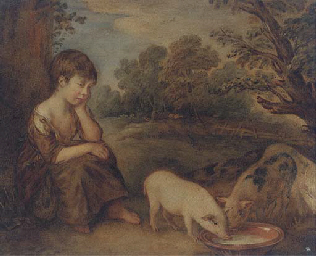 Girl with pigs