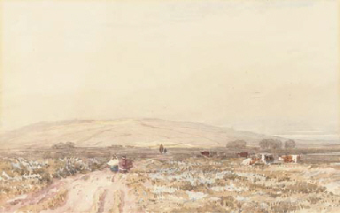 Travellers on a moorland track