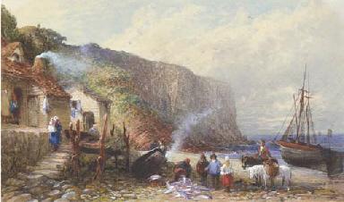 A coastal hamlet with figures