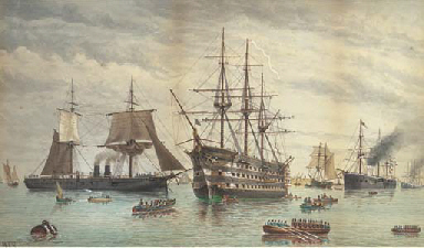 H.M.S. Victory amidst ironclad