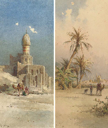 Mosques and minarets in a dese