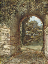 An ivy-clad arch with a view t