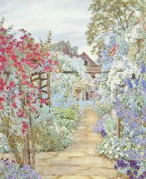 A cottage garden in full bloom