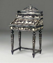 A MILANESE EBONISED AND INLAID