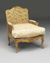 A beech and caned bergere