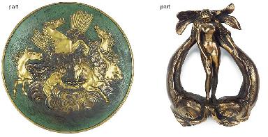 A bas relief cast bronze round