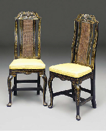 A PAIR OF DUTCH EBONISED AND G