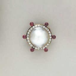 A MABE PEARL, RUBY, DIAMOND AN