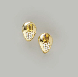 A PAIR OF CITRINE, DIAMOND AND