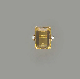 A RETRO CITRINE, DIAMOND AND 1
