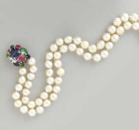 A TWO-STRAND CULTURED PEARL, G
