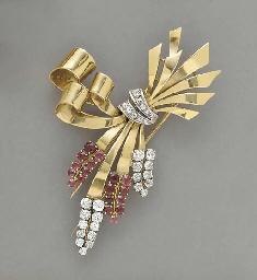 A RETRO DIAMOND, RUBY, PLATINU