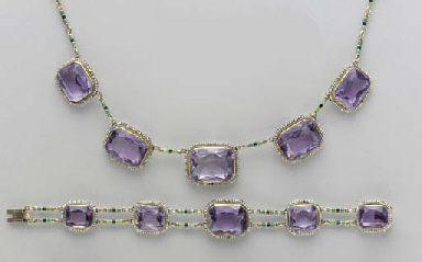 A SUITE OF AMETHYST, SEED PEAR