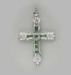 AN EMERALD, DIAMOND AND WHITE