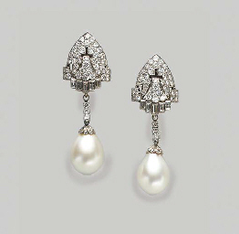 A PAIR OF DIAMOND, CULTURED PE