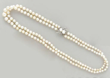 A TWO-STRAND PEARL, DIAMOND AN