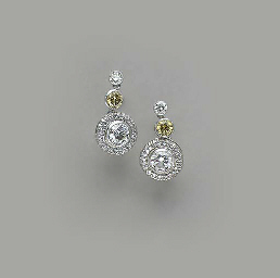 A PAIR OF COLORED DIAMOND AND